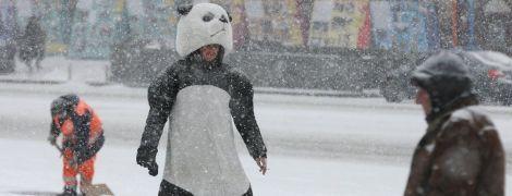 Зустріч киян із першим снігом у фото: засипало машини, людей і навіть панд