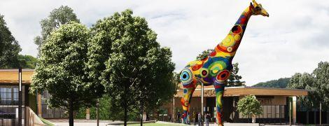 Перед входом в киевский зоопарк появится красочный жираф размером с пятиэтажку