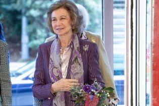 В лиловом костюме: 80-летняя королева София сходила на торжественное мероприятие