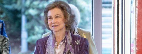 У ліловому костюмі: 80-річна королева Софія сходила на урочистий захід
