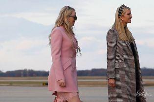 В розовом блейзере, кружевном платье и золотых туфлях: эффектный образ Тиффани Трамп