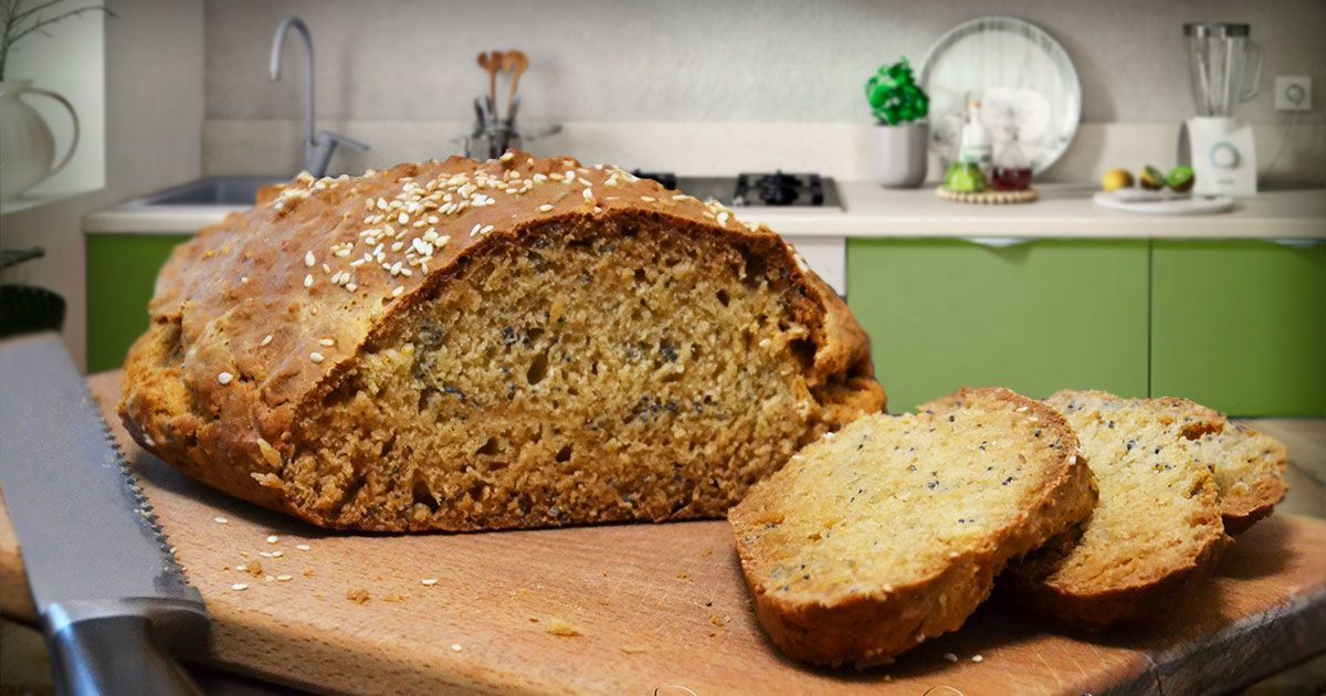 Бездріжджовий хліб з маком і кунжутом