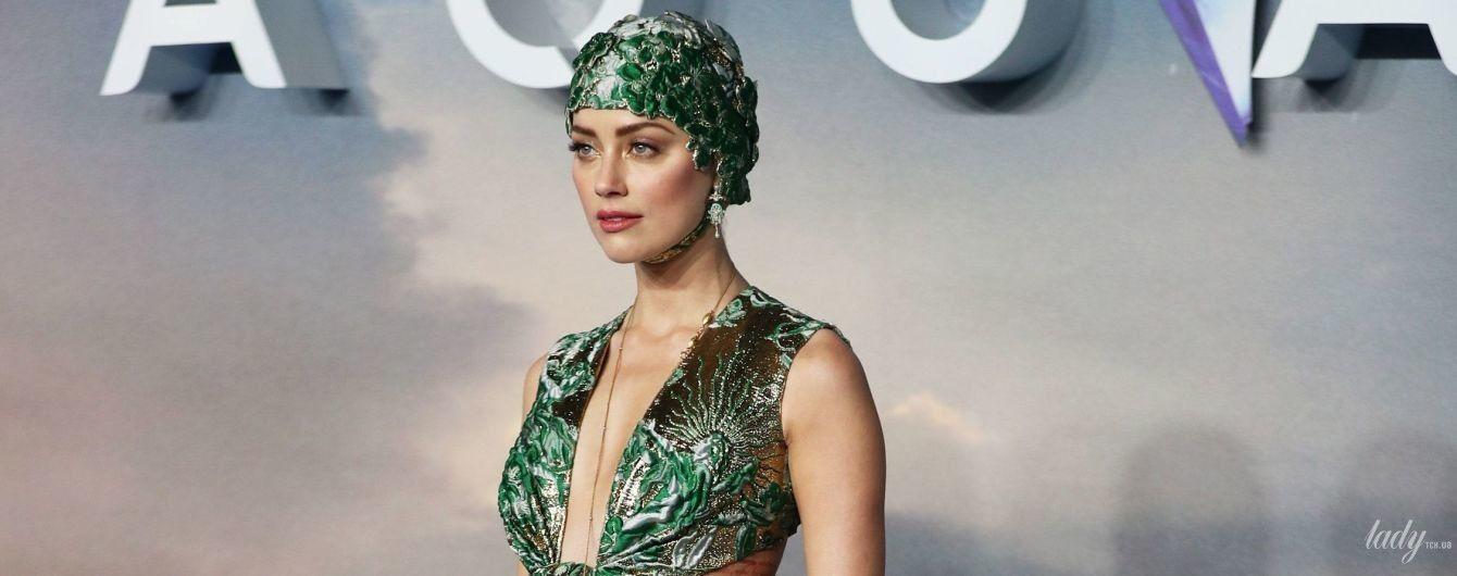У кутюрній сукні з глибоким декольте: Ембер Герд на прем'єрі фільму в Лондоні
