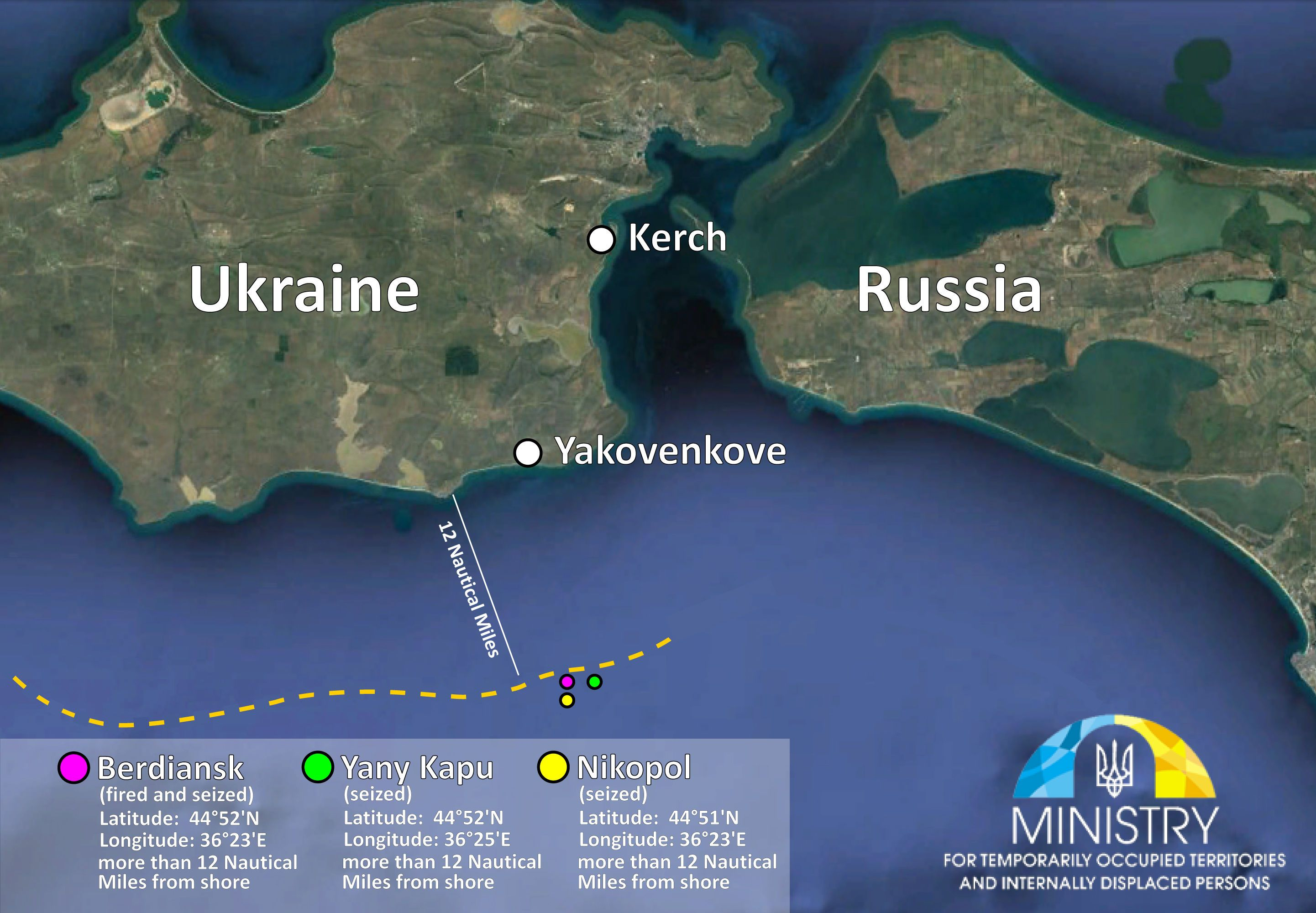 місцерозташування українських кораблів під час нападу
