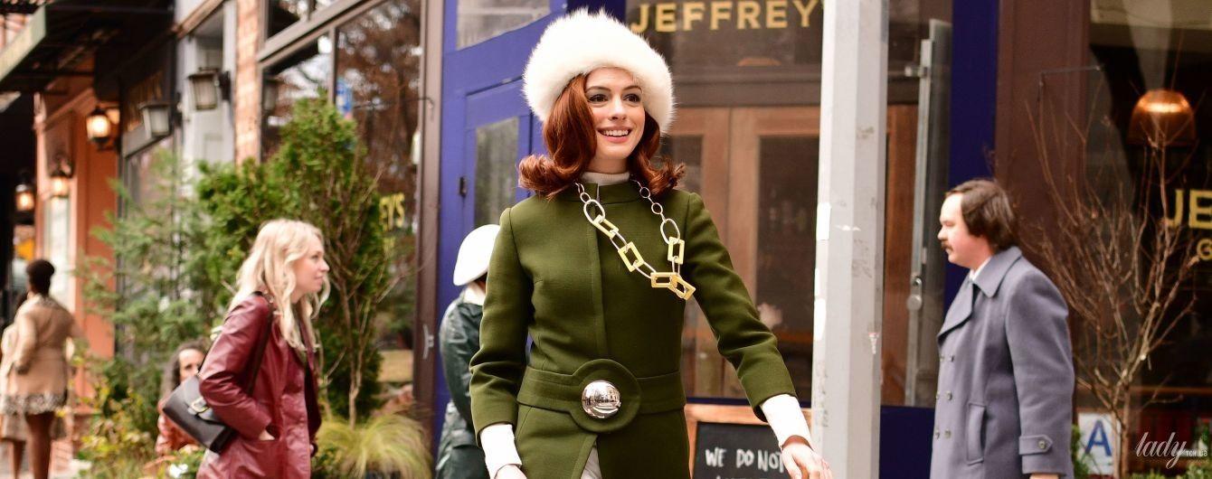 В оливковому пальті та хутряній шапці: Енн Гетевей в об'єктивах папараці