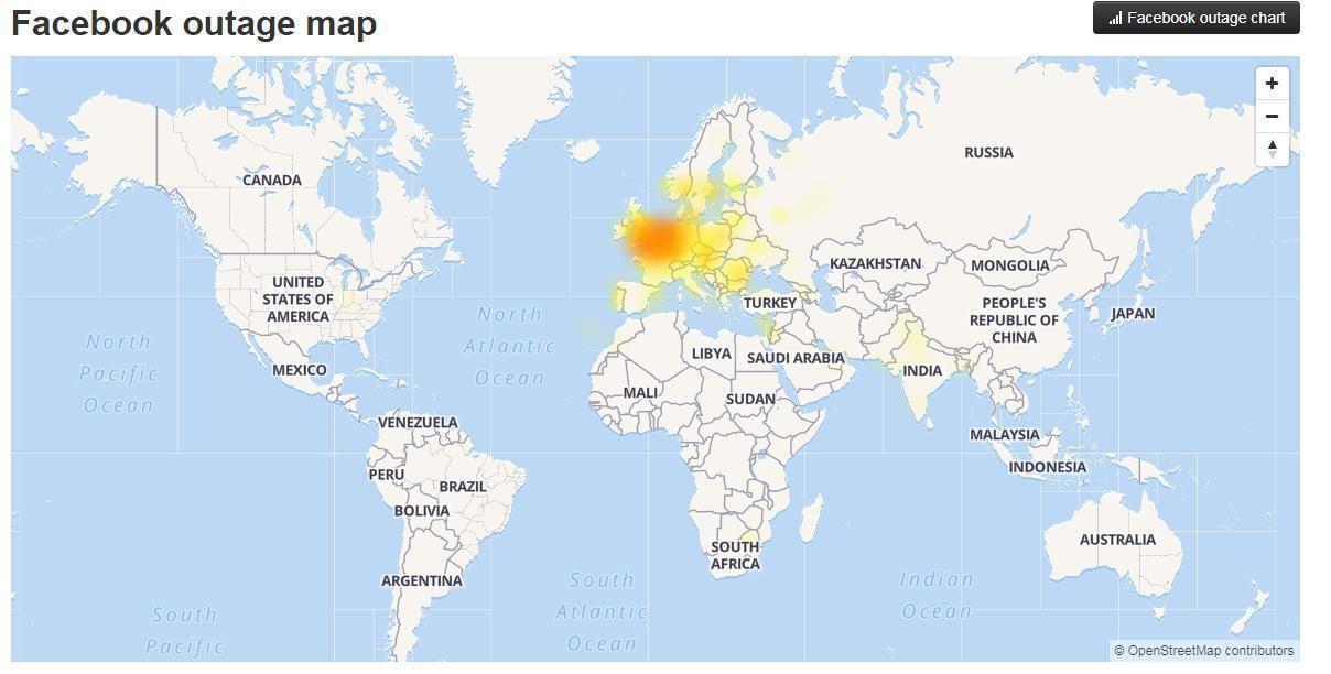 збій у Facebook, мапа, 5.12