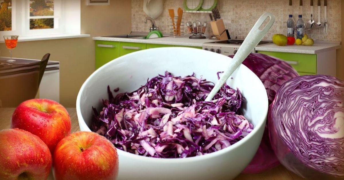 Салат із червоної капусти з яблуком