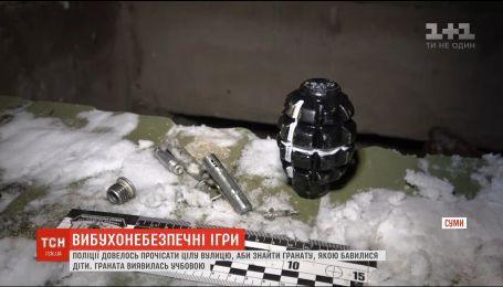 В Сумах полиция прочесала всю улицу в поисках гранаты, которой играли дети