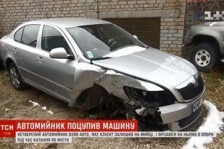 В Николаеве автомойщик напился и на машине клиента въехал в электроопору