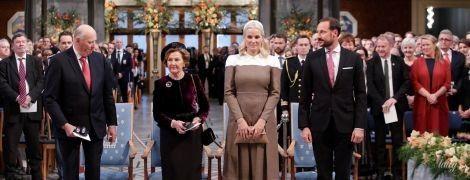 Обидві гарні: королева Соня і кронпринцеса Метте-Маріт на урочистій церемонії