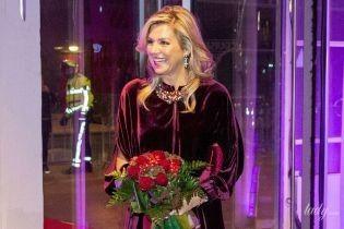Красивый выход: королева Максима в бархатном платье сходила на концерт