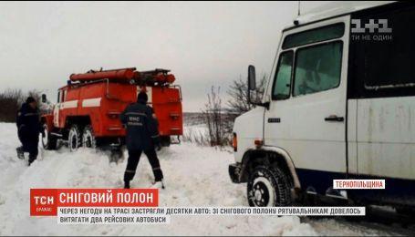 Заблоковані автобуси та швидкі у кюветах: українські дороги замело снігом