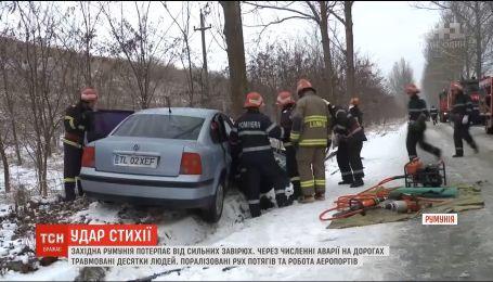 Хаос на дорогах и десятки травмированных: Румыния страдает от сильных снегопадов