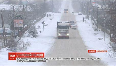 Украину заснежило: из-за непогоды на трассах застряли десятки авто