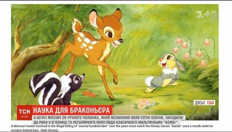 """В США мужчину, который убил сотни оленей, приговорили к просмотру мультфильма """"Бэмби"""""""
