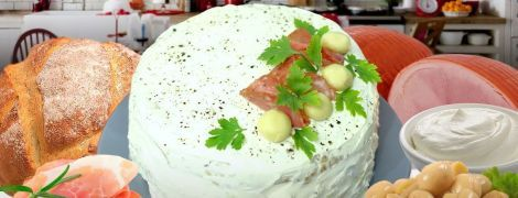 Бутербродный торт с ветчиной и шампиньонами