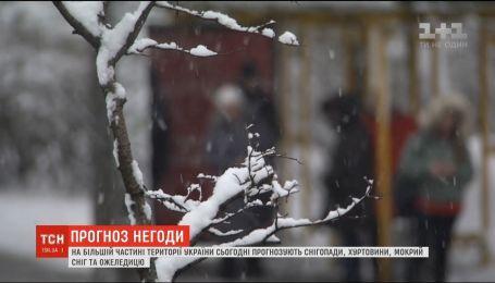 Сильные осадки прогнозируют на большей части территории Украины