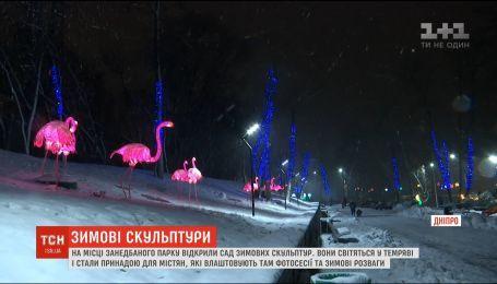 Клумба кульбабок та галявина фламінго: у Дніпрі відкрили зимовий парк квітів