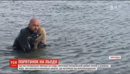 Турецький правоохоронець пірнув у крижану воду, аби врятувати цуценя