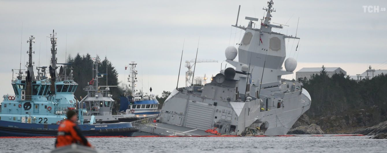 Столкновение кораблей в Норвегии: военный фрегат спасли от затопления
