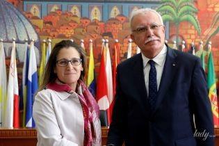 В старом платье и очках: министр иностранных дел Канады на официальной встрече
