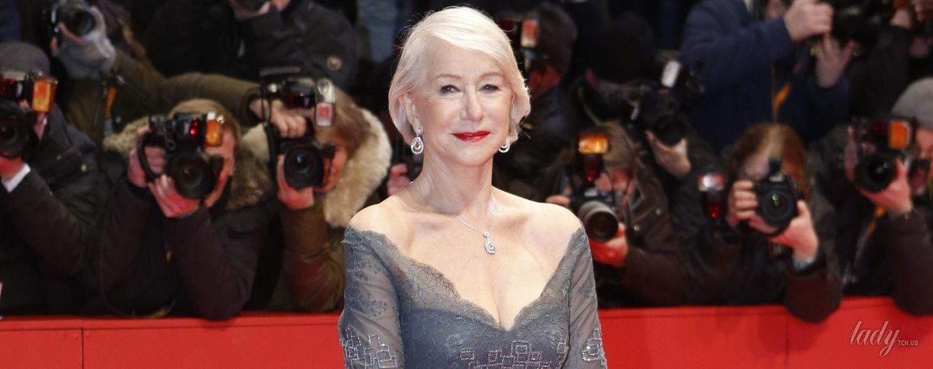 В пышном платье с глубоким декольте: 72-летняя Хелен Миррен на красной дорожке кинофестиваля в Берлине