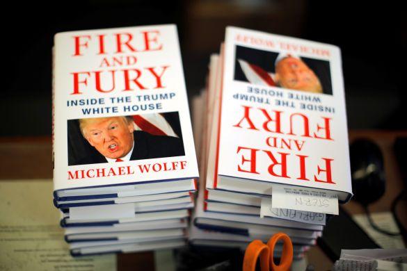 Fire and Rury, обкладинка книги Майкла Вулффа про Трампа