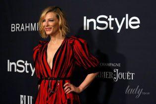 В ярком наряде с глубоким декольте: Кейт Бланшетт на светской церемонии InStyle