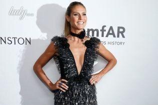 В роскошном платье с глубоким декольте: Хайди Клум на благотворительном вечере amfAR Gala