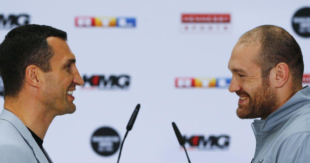 Боксери Володимир Кличко і Тайсон Ф'юрі на прес-конференції у Кельні, Німеччина. Бій між ними відбудеться 9 липня. @ Reuters