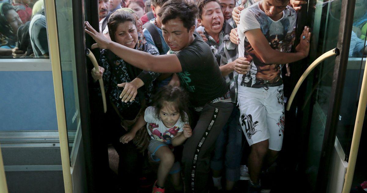 Беженцы толкают друг друга, чтобы попасть в автобус. В Грецию они прибыли морским судном в поисках лучшей жизни, ведь в Сирии сейчас идет война @ Reuters
