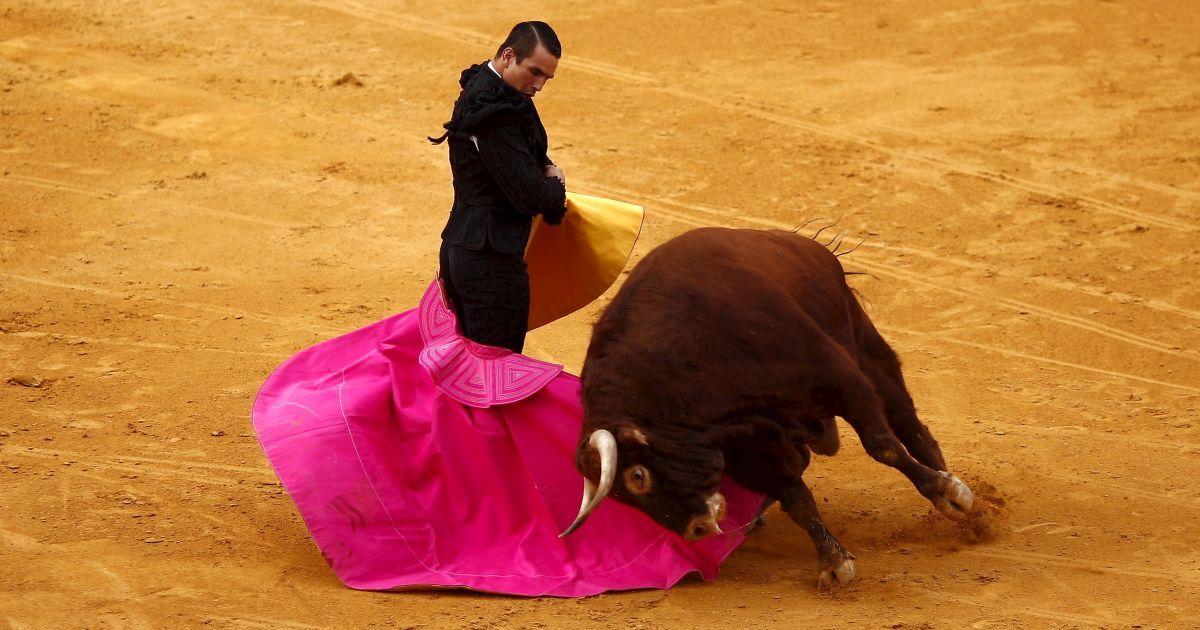 Испанский матадор Хосе Мария Мансанарес выполняет пас на быка во время корриды @ Reuters