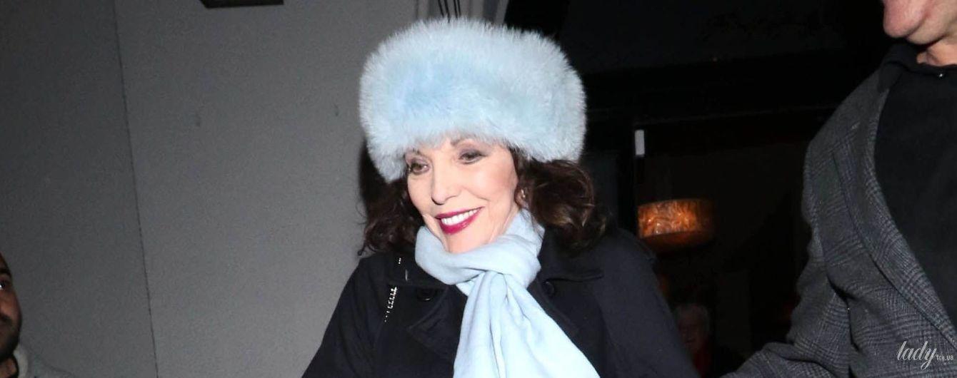 В меховой шапке и с розовой помадой: Джоан Коллинз на улицах Лос-Анджелеса