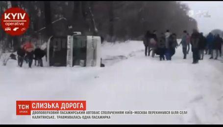 В Черниговской области перевернулся автобус с двумя десятками пассажиров