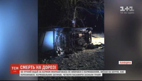 Смертельна ДТП на Львівщині: мікроавтобус злетів із траси і перекинувся, є загиблий