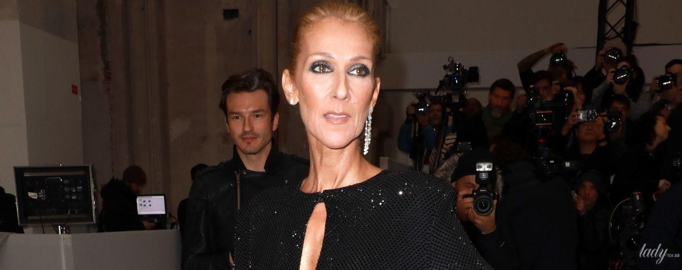 Оце фігура: Селін Діон в сукні з високим розрізом блиснула на Паризькому тижні моди