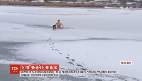 В Николаеве морпех спас собаку, которая провалилась под лед