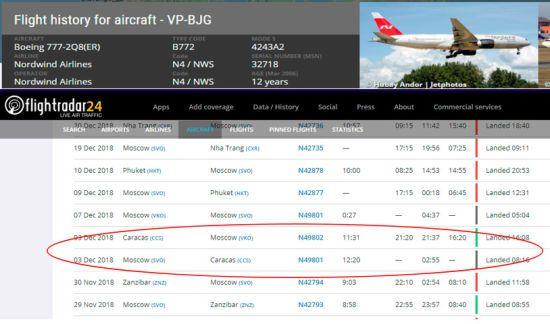 До Венесуели вилетів літак РФ, який здійснював незаконні польоти до анексованого Криму