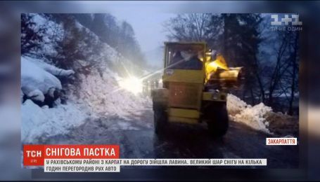 Снежная лавина заблокировала движение по дороге на Закарпатье