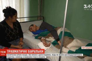 Постраждалий від падіння бурульки в Кременчуці підліток другу добу в медикаментозному сні