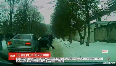 Во Львове пьяный водитель попал в два ДТП, убегая от копов