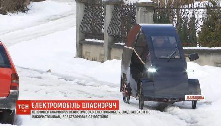 На Львівщині пенсіонер сконструював електрокар із підручних деталей