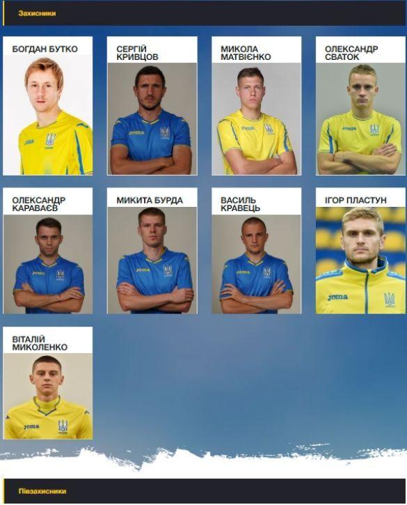 Склад збірної України з сайту ФФУ