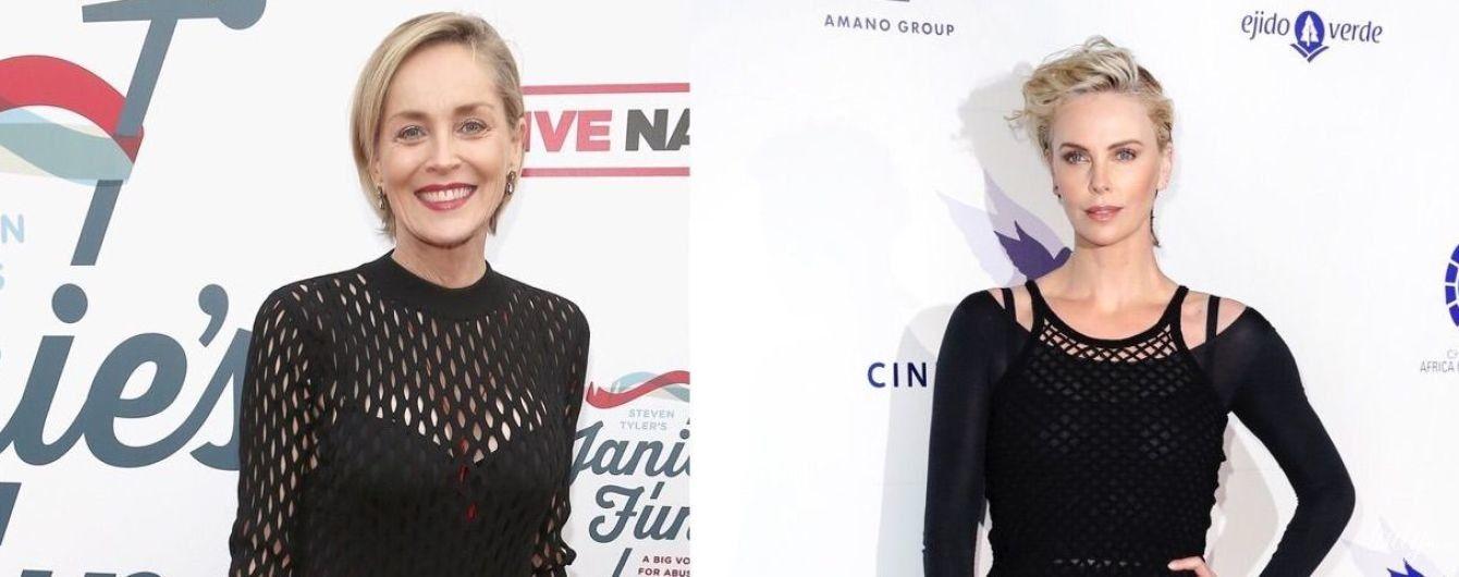 Сміливий вибір: Шарліз Терон і Шерон Стоун вийшли на публіку в сукнях-сітках