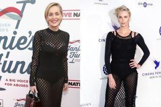 Смелый выбор: Шарлиз Терон и Шерон Стоун вышли на публику в платьях-сетках