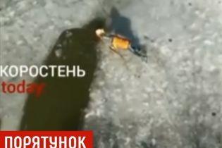 В Коростене школьник с риском для жизни вытащил из-под льда песика-дворнягу