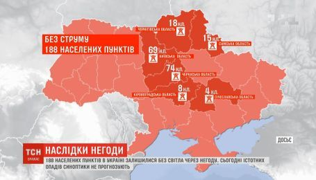Майже дві сотні населених пунктів в Україні залишилися без світла через негоду