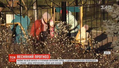 Майже по всій Україні у п'ятницю світитиме сонце