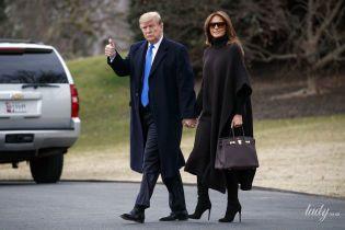 В пончо и с сумкой Hermes Birkin: Мелания Трамп с мужем отправилась в рабочую поездку