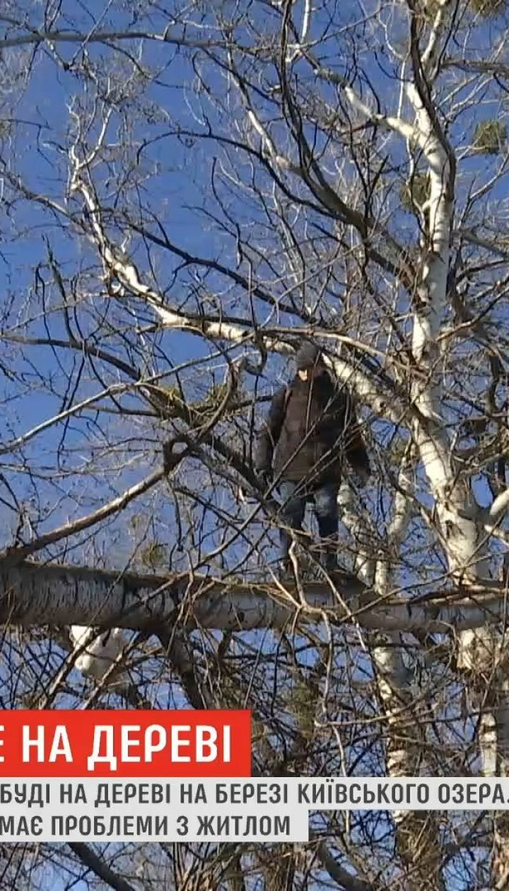Киевский бездомный смастерил себе дом на дереве возле озера